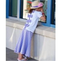 RuffleButts Παιδική Μπλούζα Λευκή με Μωβ Φιόγκους, 12-18 μηνών