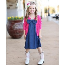 RuffleButts Παιδικό Φορεματάκι Jean με Φιόγκο, 18-24 μηνών