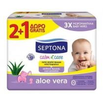 Septona Aloe Vera Μωρομάντηλα 64 Τεμάχια 2+1Δώρο