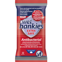 Wet Hankies Αντιβακτηριδιακά Μαντηλάκια EXTRA SAFE 12τμχ