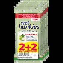 Wet Hankies Αντιβακτηριδιακά Μαντηλάκια Πράσινο Μήλο 2+2 Δώρο
