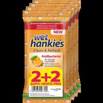 Wet Hankies Αντιβακτηριδιακά Μαντηλάκια Πορτοκάλι 2+2 Δώρο