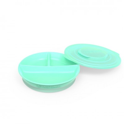 Twistshake Πιάτο με Χωρίσματα Αντιολισθητικό 6+μηνών Pastel Green