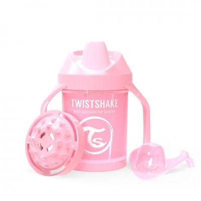 Twistshake Κύπελλο Mini Cup 230ml 4+μηνών Pastel Pink με Μίξερ Φρούτων