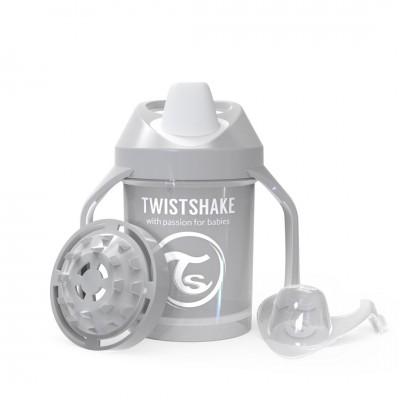 Twistshake Κύπελλο Mini Cup 230ml 4+μηνών Pastel Grey με Μίξερ Φρούτων