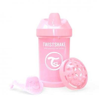 Twistshake Κύπελλο Crawler Cup 300ml 8+μηνών Pastel Pink με Μίξερ Φρούτων