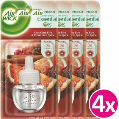 Airwick Ανταλλακτικό Ηλεκτρικής Συσκευής Crackling Fire & Cinnamon (4x19 ml)