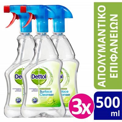 Dettol Απολυμαντικό Spray Καθαρισμού Υγιεινή & Ασφάλεια Lime & Mint 3x500ml