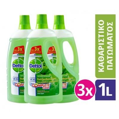 Dettol Καθαριστικό Πατώματος Αντιβακτηριδιακό Πράσινο Μήλο 3x1lt