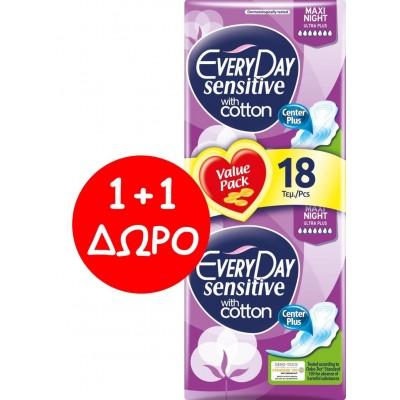 EveryDay Σερβιέτες Sensitive Cotton Ultra Plus Maxi Night 18τεμ