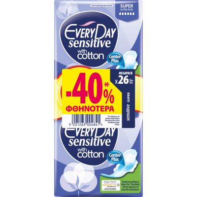 EveryDay Σερβιέτες Sensitive Ultra Plus Super 26τεμ. -40%