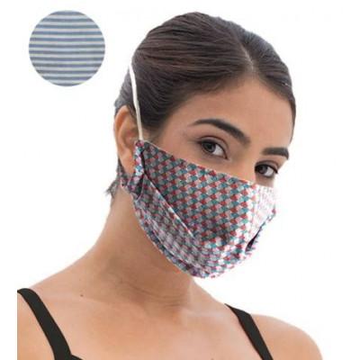 Fashy Υφασμάτινη Μάσκα Χρωματιστή Ενηλίκων (5807) - Blue Stripes