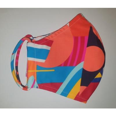 Fashy Υφασμάτινη Μάσκα Χρωματιστή Ενηλίκων (5811) - Orange Shapes