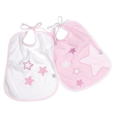 Fashy Σαλιάρα Πετσετέ Little Stars 2τμχ Ροζ Λευκή