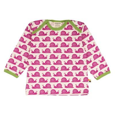 Loud+Proud Μακρυμάνικη Μπλούζα από Οργανικό Βαμβάκι με Σαλιγκάρια Φούξια 6-12 μηνών