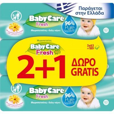 Μωρομάντηλα BabyCare Fresh Pure Water 189τμχ (3x63τμχ) 2+1 ΔΩΡΟ