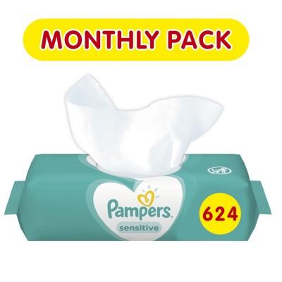 Μωρομάντηλα Pampers Sensitive 624τμχ (12x52τμχ)