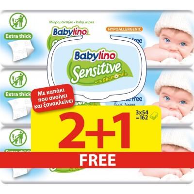 Μωρομάντηλα Babylino Sensitive Χωρίς Άρωμα με Καπάκι 162τμχ (3x54τμχ) 2+1 ΔΩΡΟ