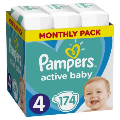 Πάνες Pampers Active Baby Νο 4 Monthly Box 174τμχ (8-16kg)