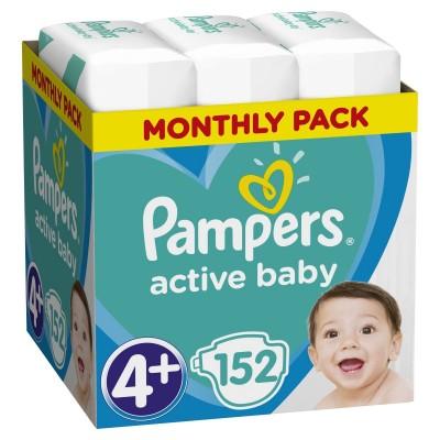 Πάνες Pampers Active Baby Νο 4+ Monthly Box 152τμχ (9-18kg)