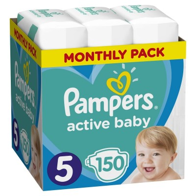 Πάνες Pampers Active Baby Νο 5 Monthly Box 150τμχ (11-18kg)