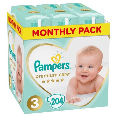 Πάνες Pampers Premium Care Νο 3 Monthly Box 204τμχ (6-10kg)