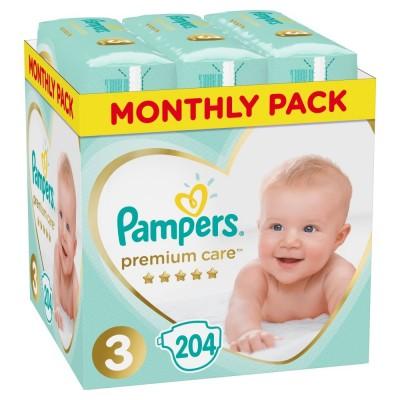 Πάνες Pampers Premium Care Νο 3 Monthly Box 204τμχ (6-10kg)
