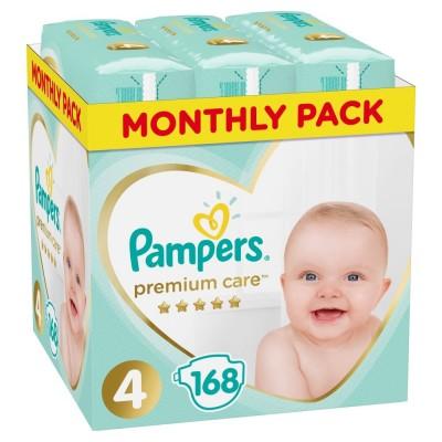 Πάνες Pampers Premium Care Νο 4 Monthly Box 168τμχ (9-14kg)