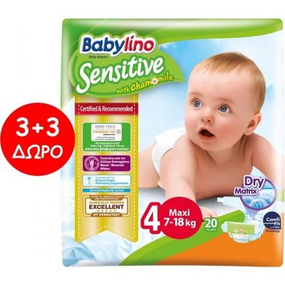Πάνες Babylino Sensitive No4 (7-18Kg) Carry Pack 6x20τμχ (120τμχ)