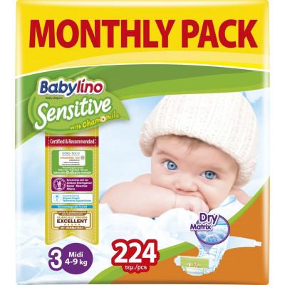 Πάνες Babylino Sensitive Monthly Pack No3 (4-9Kg) 224τμχ