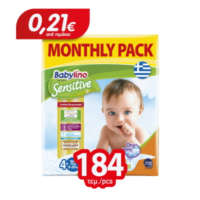 Πάνες Babylino Sensitive Monthly Pack No4+ (9-20Kg) 184τμχ