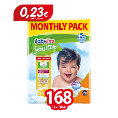 Πάνες Babylino Sensitive Monthly Pack No5+ (13-27Kg) 168τμχ