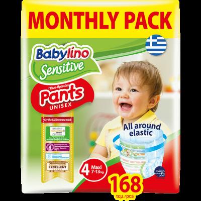 Πάνες Βρακάκι Babylino Pants No4 Monthly Pack 168τμχ (7-13Kg)