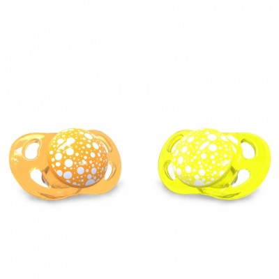 Twistshake Πιπίλα Σιλικόνης χωρίς BPA 0-6 μηνών Πορτοκαλί Κίτρινη
