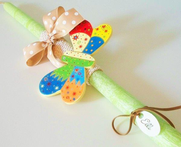 Λαμπάδα με Ξύλινη πεταλούδα σε Πράσινο κρακελέ κερί