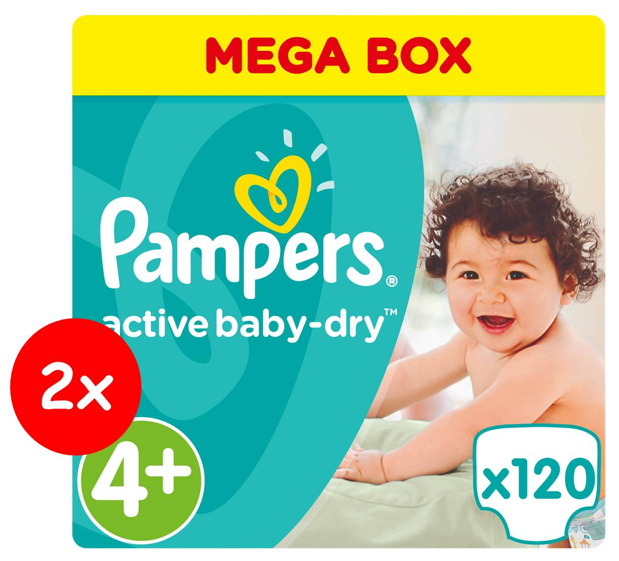 Πάνες Pampers Active Baby Dry Νο 4+ Mega Box 2x120τμχ (9-16kg)