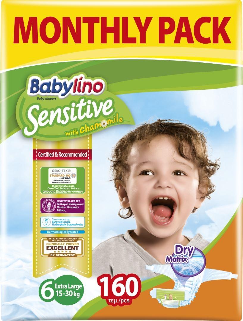 Πάνες Babylino Sensitive No6 (15-30Kg) Monthly Pack 160τμχ