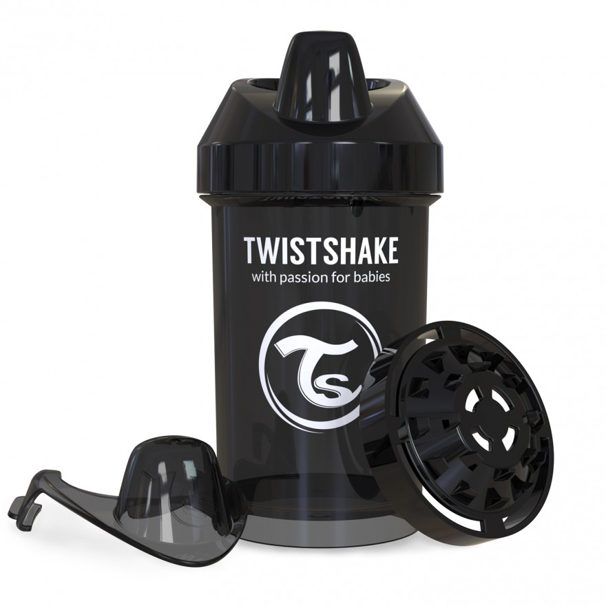 Twistshake Κύπελλο Crawler Cup 300ml 8+μηνών Μαύρο με Μίξερ Φρούτων